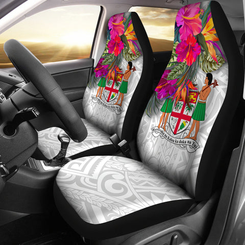 Fiji Polynesian Car Seat Covers - Hibiscus White Pattern