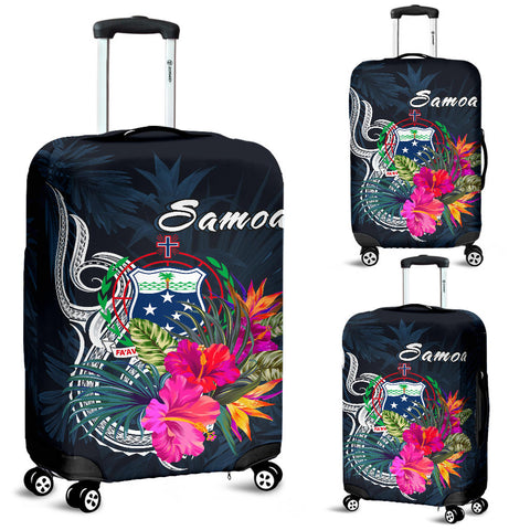 Image of Samoa Polynesian Luggage Covers- Tropical Flowers