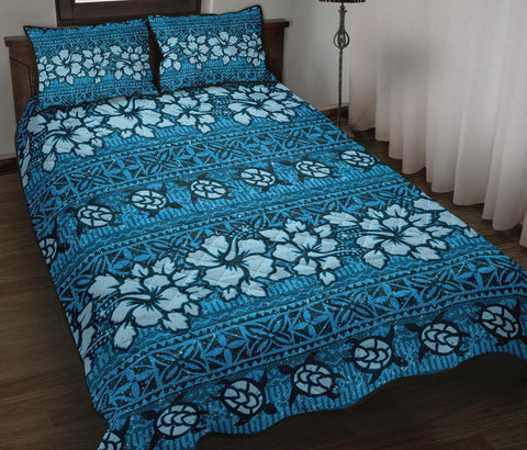 Fiji Polynesian Quilt Bed Set Tapa Hibiscus Blue