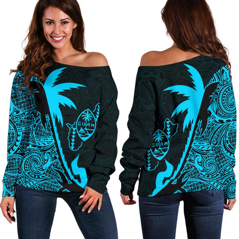 Image of Guam Coconut Tree Off Shoulder Sweater Blue