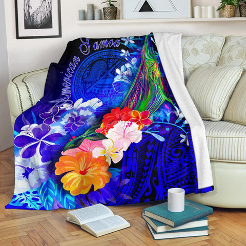 Image of American Samoa Polynesian Premium Blanket - Humpback Whale with Tropical Flowers (Blue)- BN18
