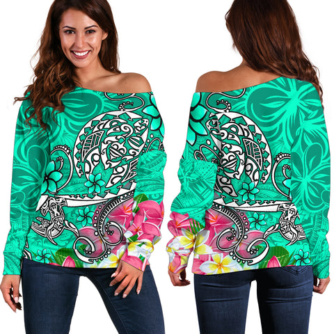 Polynesian Women's Off Shoulder Sweater - Turtle Plumeria Turquoise Color