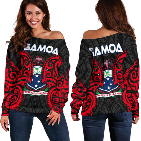 Samoa Polynesian Women's Off Shoulder Sweater - Samoan Spirit