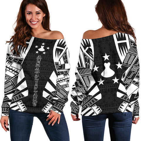 Austral Islands Women's Off Shoulder Sweater - Polynesian Tattoo Black
