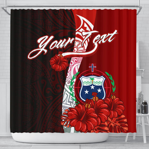 Samoa Polynesian Custom Personalised Shower Curtain - Coat Of Arm With Hibiscus