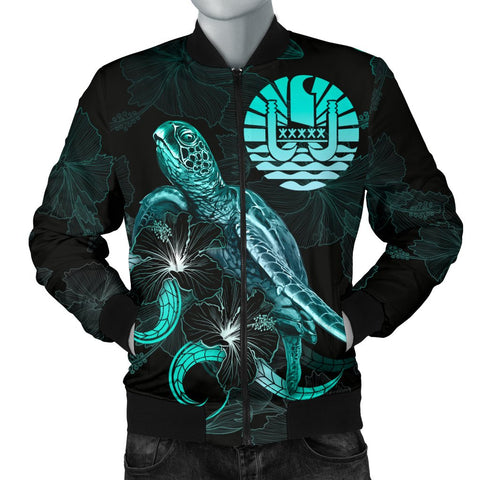 Tahiti Polynesian Men's Bomber Jacket - Turtle With Blooming Hibiscus Turquoise