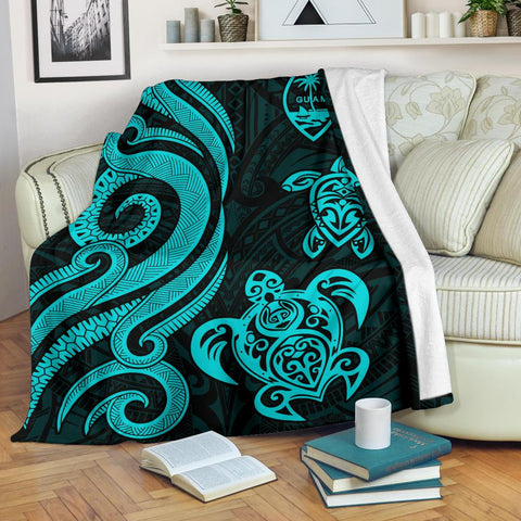 Image of Guam Polynesian Premium Blanket - Turquoise Tentacle Turtle