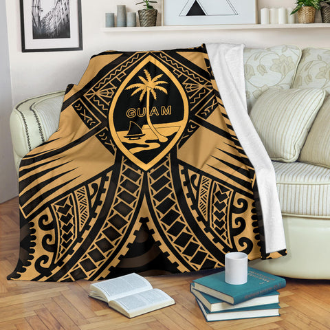 Guam Polynesian Premium Blanket - Guam Gold Seal with Polynesian Tattoo