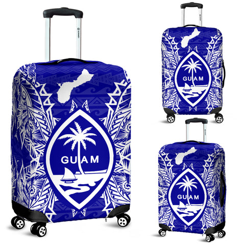 Guam Polynesian Luggage Covers Map Blue