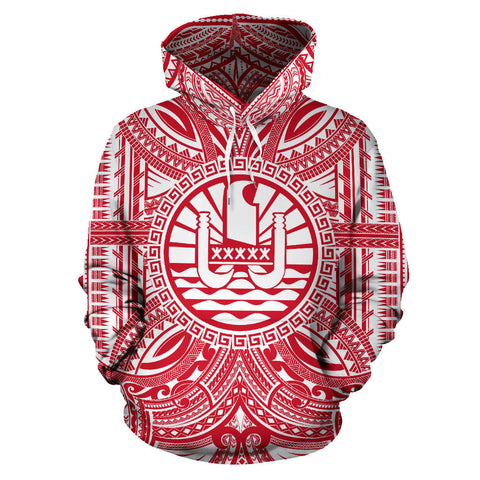 Tahiti All Over Hoodie - Tahiti Coat Of Arms Polynesian Flag Color