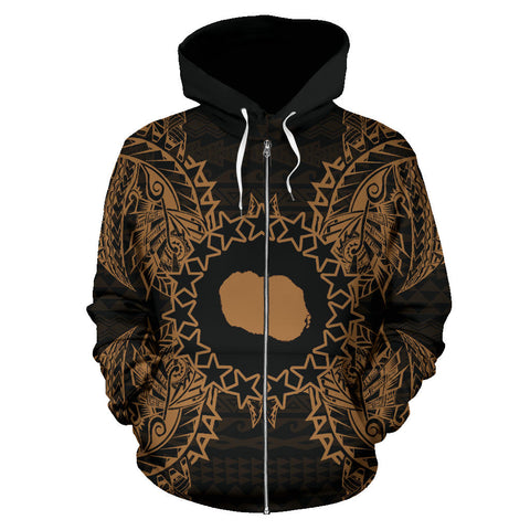 Cook Islands Polynesian All Over Zip Up Hoodie Map Gold