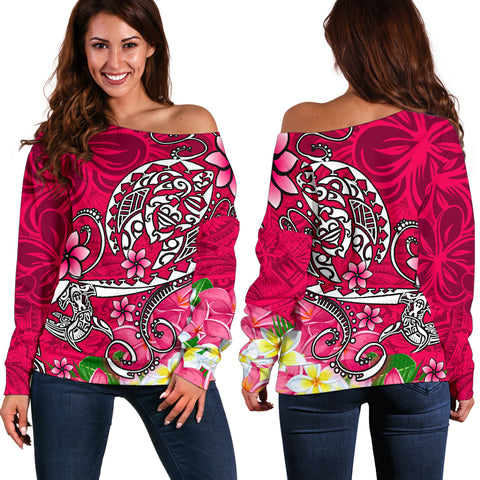 Polynesian Women's Off Shoulder Sweater - Turtle Plumeria Pink Color
