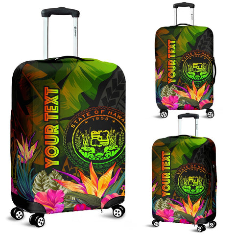 Polynesian Hawaii Polynesian Personalised Luggage Covers -  Hibiscus and Banana Leaves