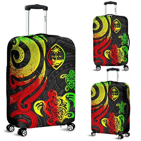 Guam Polynesian Luggage Covers - Reggae Tentacle Turtle