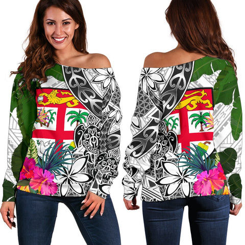 Fiji Women's Off Shoulder Sweater White - Turtle Plumeria Banana Leaf