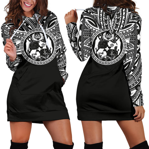 Tonga Women Hoodie Dress - Tonga Coat Of Arms Polynesian Black Color