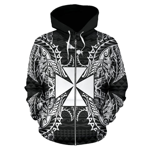 Image of Wallis And Futuna Polynesian All Over Zip Up Hoodie Map Black