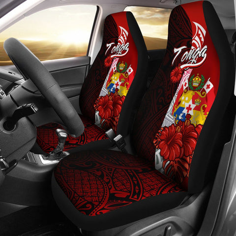 Tonga Polynesian Car Seat Covers - Coat Of Arm With Hibiscus