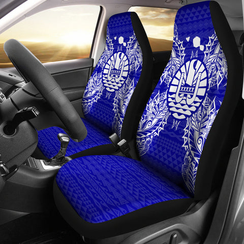 Image of French Polynesia Polynesia Car Seat Cover Map Blue