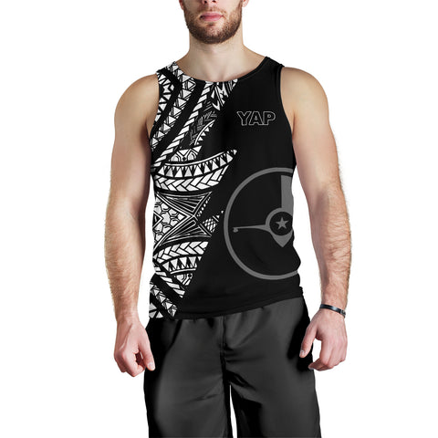 Yap Men's Tank Top - Micronesian Pattern Flash Black - BN39