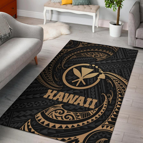 Hawaii Polynesian Area Rug - Gold Tribal Wave