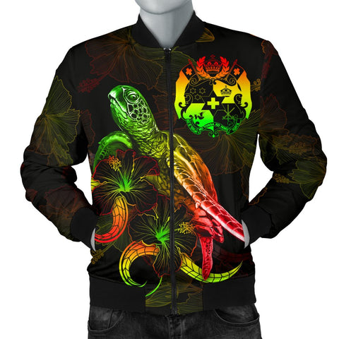 Image of Tonga Polynesian Men's Bomber Jacket - Turtle With Blooming Hibiscus Reggae