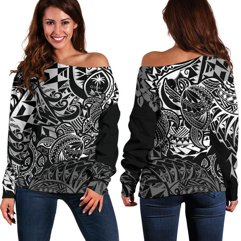 Guam Polynesian Off Shoulder Sweater (Women) - White Turtle Flowing