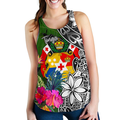 Image of Tonga Women Racerback Tank - Turtle Plumeria Banana Leaf - BN11