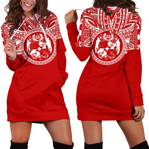 Tonga Women Hoodie Dress - Tonga Coat Of Arms Polynesian Flag Color