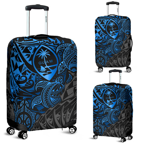 Guam Polynesian Luggage Covers - Blue Turtle Flowing