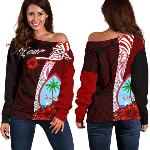 Guam Polynesian Custom Personalised Women's Off Shoulder Sweater - Coat Of Arm With Hibiscus