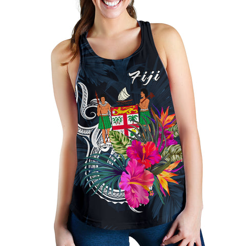 Image of Fiji Polynesian Women's Racerback Tank - Tropical Flower - BN12