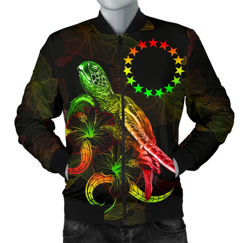 Cook Islands Polynesian Men's Bomber Jacket - Turtle With Blooming Hibiscus Reggae