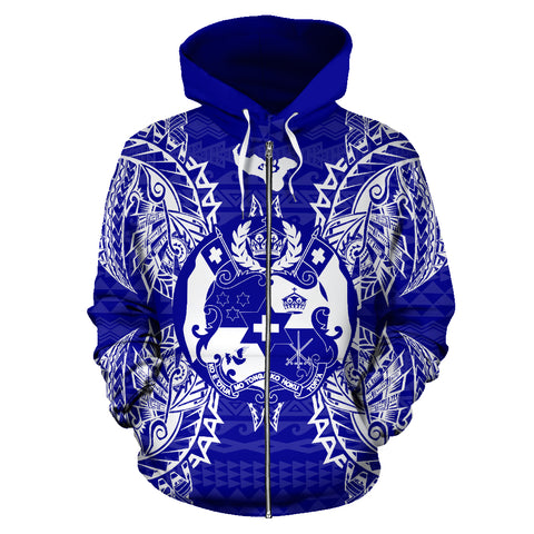 Tonga Polynesian All Over Zip Up Hoodie Map Blue