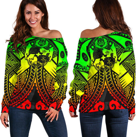 Tonga Polynesian Women's Off Shoulder Sweater - Tonga Reggae Seal with Polynesian tattoo