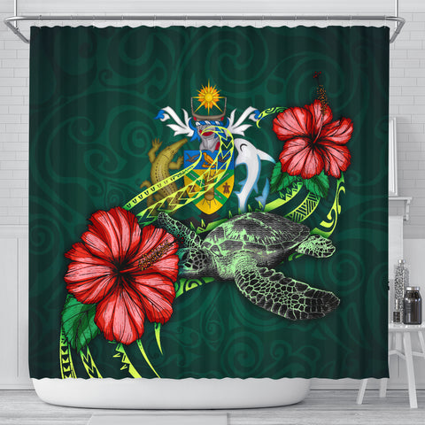 Solomon Islands Polynesian Shower Curtain - Green Turtle Hibiscus