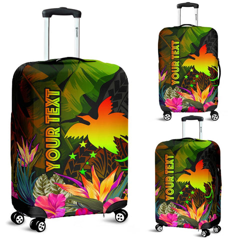 Papua New Guinea Polynesian Personalised Luggage Covers -  Hibiscus and Banana Leaves