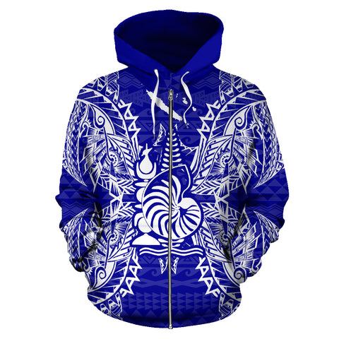New Caledonia Polynesian All Over Zip Up Hoodie Map Blue