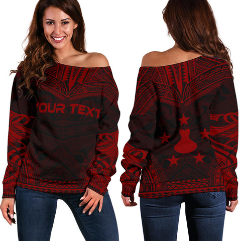 Austral Islands Polynesian Chief Custom Personalised Women's Off Shoulder Sweater - Red Version - Polynesian Apparel, Poly Clothing, Women Sweater
