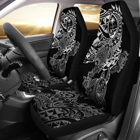Image of Guam Polynesian Car Seat Covers - White Turtle Flowing