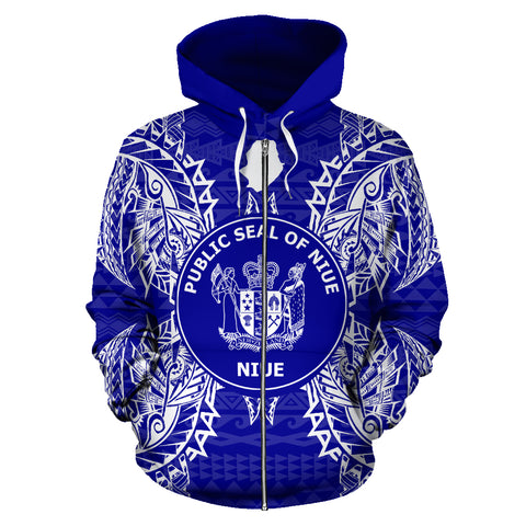 Image of Niue Polynesian All Over Zip Up Hoodie Map Blue
