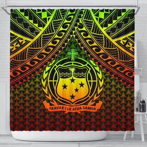 Polynesian Samoa Shower Curtain - Reggae Vintage Polynesian Patterns