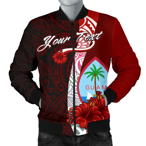 Guam Polynesian Custom Personalised Men's Bomber Jacket - Coat Of Arm With Hibiscus