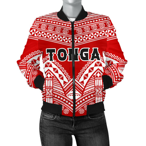 Image of Tonga Polynesian Tribal Pattern Women's Bomber Jacket - BN12