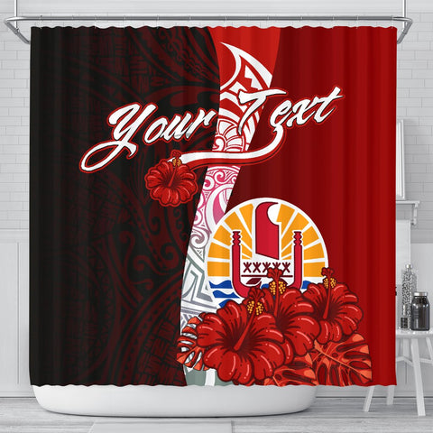 Image of Tahiti Polynesian Custom Personalised Shower Curtain - Coat Of Arm With Hibiscus
