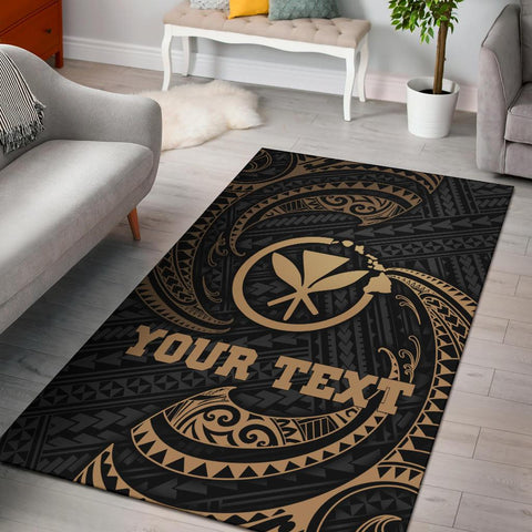 Hawaii Polynesian Custom Personalised Area Rug - Gold Tribal Wave