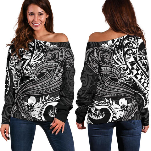 Polynesian Women's Off Shoulder Sweater - White Shark Polynesian Tattoo