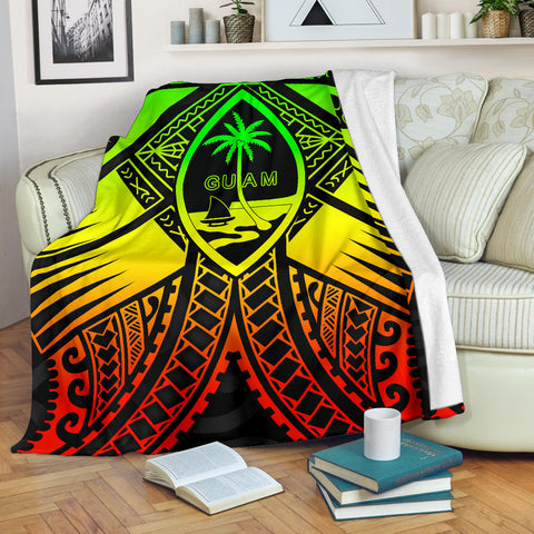Image of Guam Polynesian Premium Blanket - Guam Reggae Seal with Polynesian Tattoo