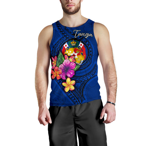Tonga Polynesian Men's Tank Top - Floral With Seal Blue