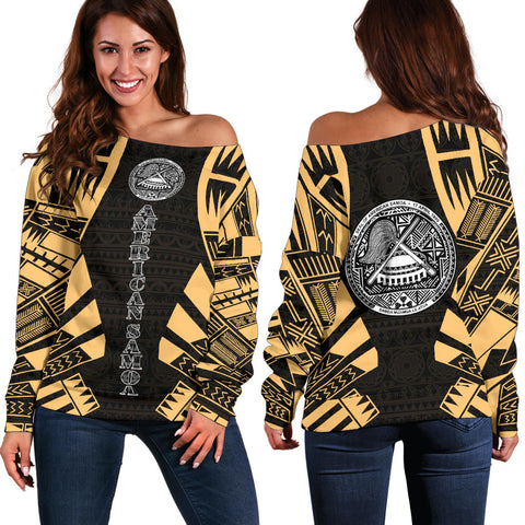 American Samoa Women's Off Shoulder Sweater - Polynesian Tattoo Gold